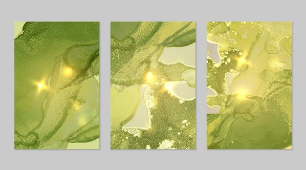 Textures abstraites de marbre vert et or brillant