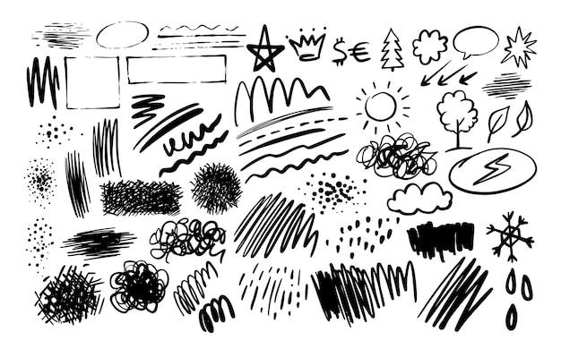 Textures doodle collection dessinée à la main. éléments de formes tourbillonnantes et droites.