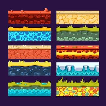 Textures pour la plate-forme de jeux, ensemble de vecteur