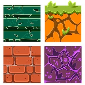 Textures pour platformers ensemble de pierres précieuses, de briques et de sol