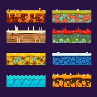 Textures pour platformers, set of vector