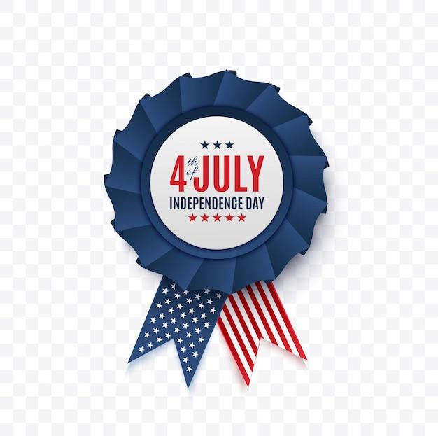 Th of juillet badge isolé jour de l'indépendance de l'illustration vectorielle de tag amérique
