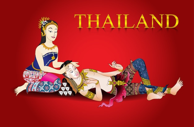 Thai massage fond vintage vecteur illustrator