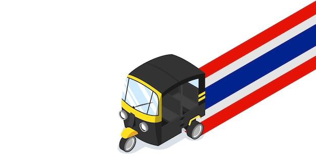 Thaïlande auto pousse-pousse tuk tuk avec illustration vectorielle isométrique de bannière de drapeau national