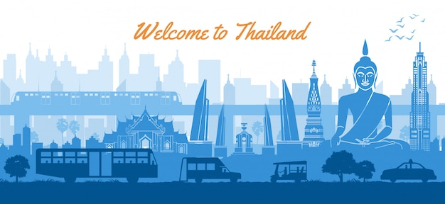 Thaïlande célèbre monument dans les paysages