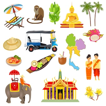 Thaïlande icons set