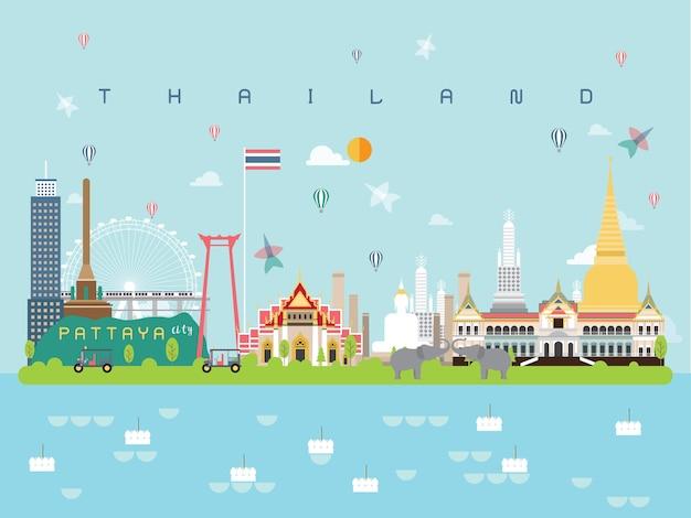 Thaïlande infographie de monuments célèbres