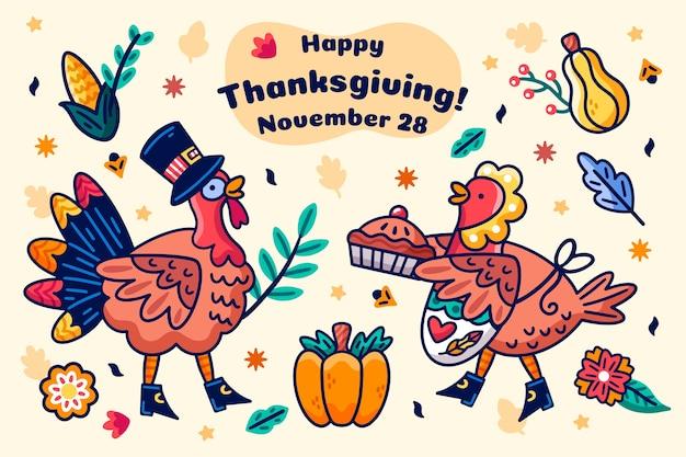 Thanksgiving arrière-plan dessiné à la main