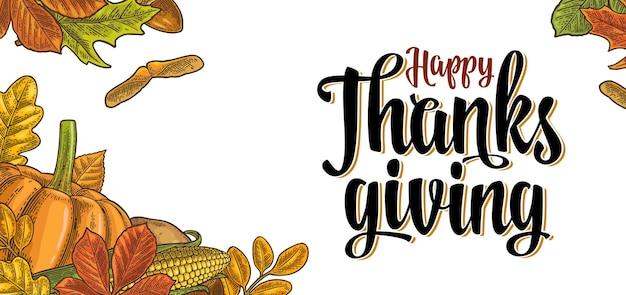 Thanksgiving day avec citrouille feuille de maïs érable gland graine châtaignier vecteur vintage gravure