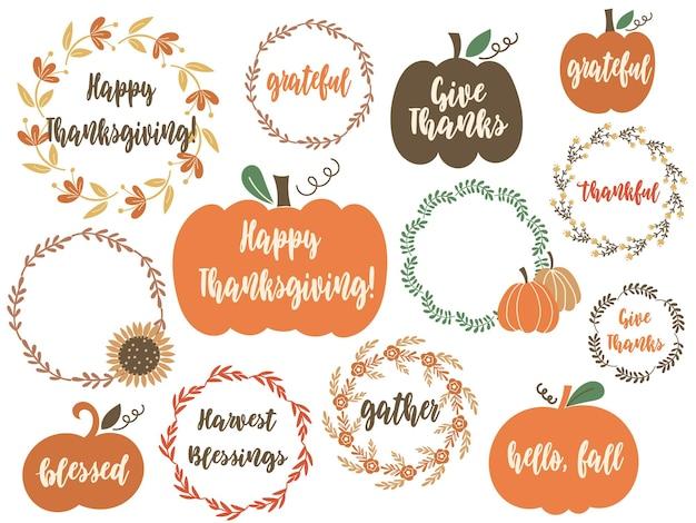 Thanksgiving day clipart avec citrouilles, éléments floraux et citations de voeux. illustration vectorielle.