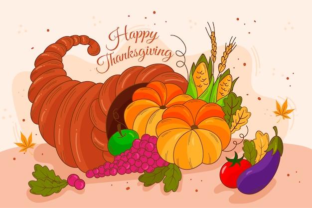 Thanksgiving fond dessiné à la main