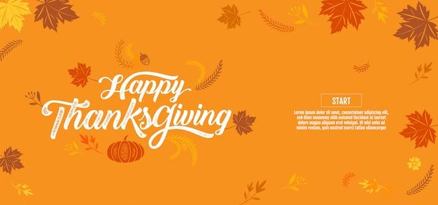 Thanksgiving heureux, typographique, calligraphie, type,
