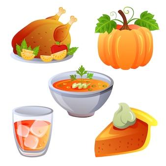 Thanksgiving jeu d'icônes de nourriture automne