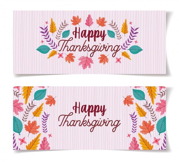 Thanksgiving lettrage des bannières de décoration de feuillage