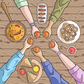 Thanksgiving rassemblement dîner amis et famille