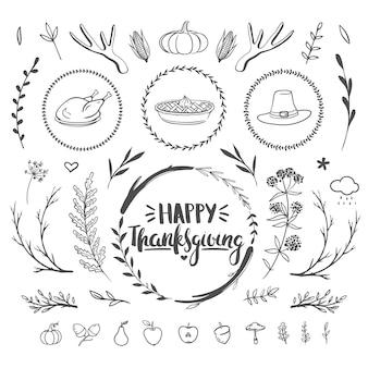 Thanksgiving sertie de décorations florales, lettrage dessiné à la main et griffonnages mignons illustration vectorielle