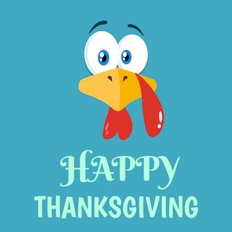 Thanksgiving turkey face flat design caractère