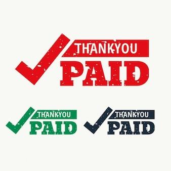 Thankyou et vecteur de timbre payé