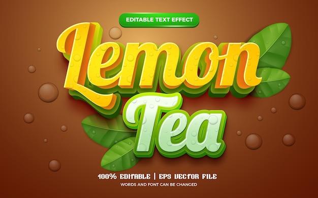 Le thé au citron nature laisse un effet de texte modifiable en 3d frais