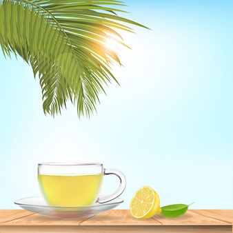 Thé au citron réaliste sur la table. illustration vectorielle.
