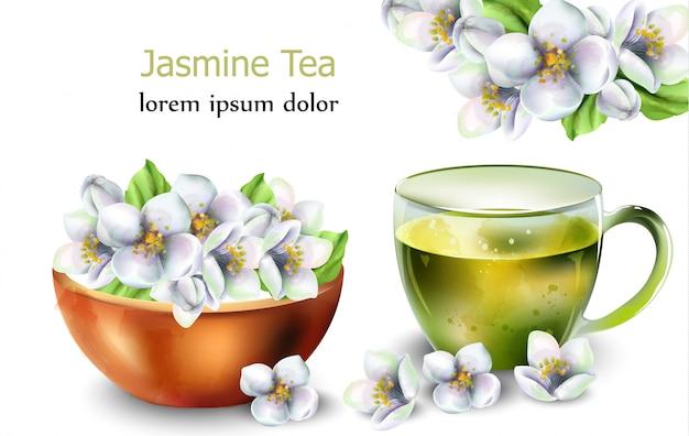 Thé au jasmin avec des décorations de fleurs