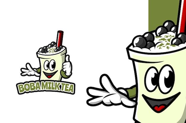 Thé au lait de boba - modèle de logo de mascotte