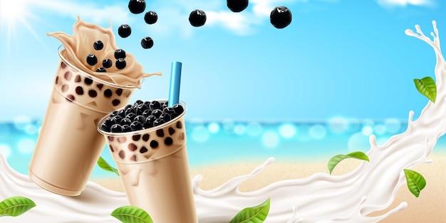 Thé au lait à bulles avec de délicieux tapioca et éclaboussures de lait sur l'océan bokeh en illustration 3d