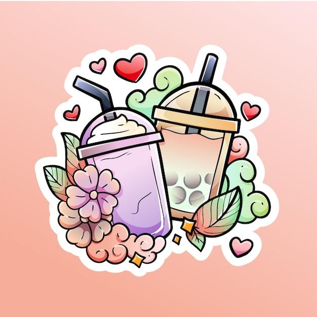 Thé à bulles et lait glacé avec amour