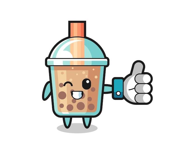 Thé à bulles mignon avec symbole de pouce levé sur les médias sociaux, design de style mignon pour t-shirt, autocollant, élément de logo