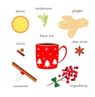 Thé chaud aux épices sur fond blanc ingrédients