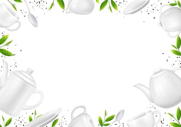 Thé composition réaliste de feuilles de thé en vrac et illustration de théières
