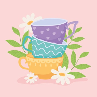 Thé, différentes tasses à thé avec illustration de conception de fleurs et de feuilles