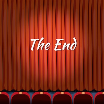 The end, lettrage sur le rideau rouge près du théâtre, de la fin ou de la finition, du spectacle ou du concept de divertissement
