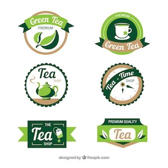 Thé feuilles collection de logo