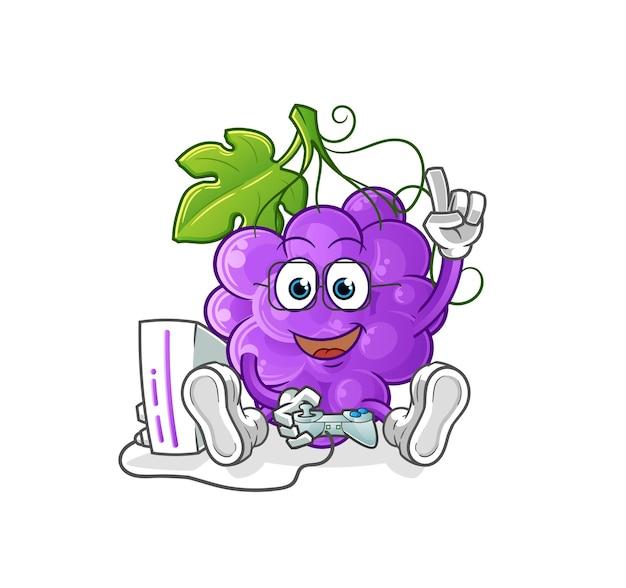 The grape jouant à des jeux vidéo. personnage de dessin animé