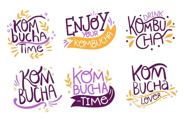 Thé kombucha - collection de lettrage