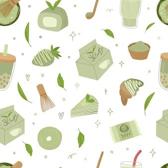 Thé matcha bio seamless psttern. matcha latte, cupcake, rouleau, poudre, macaron, thé. illustration de dessin animé dessinés à la main de vecteur. tous les éléments sont isolés.