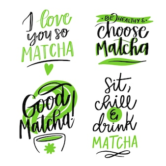 Thé matcha - collection de lettrage