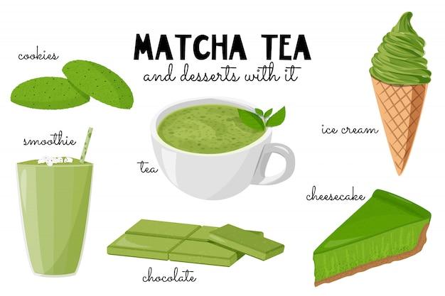 Thé matcha et desserts avec.