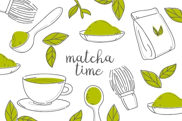 Thé matcha dessiné à la main et fond de feuilles