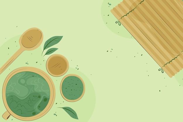 Thé matcha dessiné à la main - fond