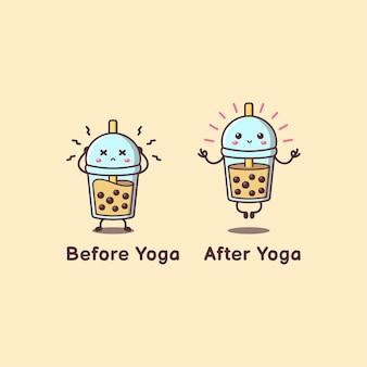 Thé mignon boba avant après le yoga