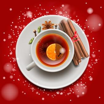 Thé de noël à la cannelle et aux épices, sur fond rouge. joyeux noël et bonne année affiche, illustration