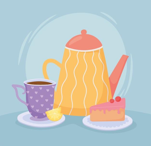 Thé, tasse de thé théière citron et tranche de gâteau illustration