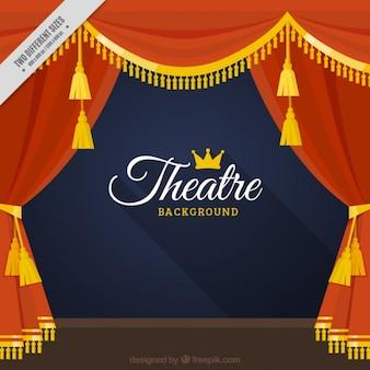Théâtre draperie fond avec des détails dorés
