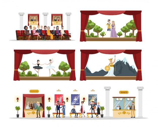 Théâtre de la ville de l'intérieur des chambres avec jeu, opéra et ballet sur blanc.