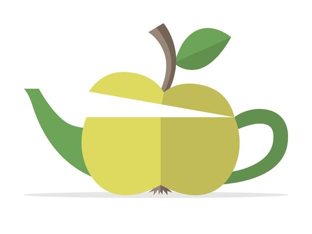Théière conceptuelle pomme verte. nourriture, fruits, boissons, boissons, nature, mode de vie sain, petit-déjeuner, fraîcheur et concept de remise en forme. illustration vectorielle eps 8, pas de transparence
