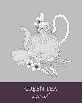 Théière élégante avec passoire, tasse en verre et feuilles et fleurs de thé vert originales