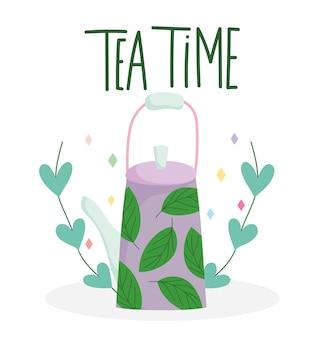 Théière de l'heure du thé avec verres de cuisine imprimés feuilles, illustration de dessin animé design floral