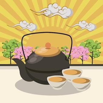 Théière japonaise avec des tasses
